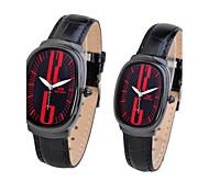 reloj simple rectángulo de cuero genuino cuarzo de la venda del análogo de la pareja (colores surtidos)
