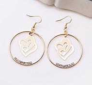 Fashion Cute Double Love Alloy Drop Earrings