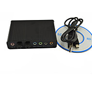 USB Sound Card 6 Channel External Audio Card Converter 5.1OpticalCM6206 Chipset for PC Laptop Desktop Tablet-(black)