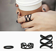 Korea Wrapped Matte Black Three-Piece Ring