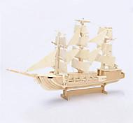 DIY Sailing Ship Shaped 3D Wooden Puzzle