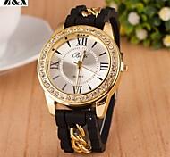Mode römische Zahl Diamant-Kette Quarz analoge Armbanduhr der Frauen (verschiedene Farben)