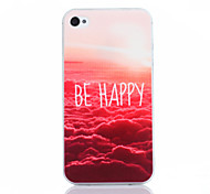 Be Happy Pattern TPU Soft Cover for iPhone 4/4S