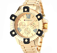 Men's Big Case Design Gold Steel Band Quartz Wrist Watch