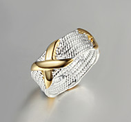 """2016 Fashion Luxury Gold """"X""""Sterling Silver Band Ring For Women"""
