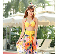 Beach Honey®2015 Latest Hight Elasticity Polyster Colorful Women Swimwear with Removable Steel Support Bra Pad 3pc Set