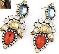 Stud Earrings Gemstone Rhinestone Alloy Statement Jewelry Gray Red Jewelry 1set