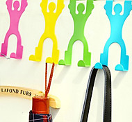 Human Shape Stainless Over Door Hooks Cabinet Clothes Pothook (Random Color)