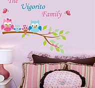 Cartoon-Eulen-Familie PVC Wandaufkleber Wandkunst Aufkleber