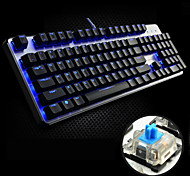 FL·ESPORTS USB Wired Blue Backlight Blue shaft Mechanical Armor GT104 Gaming Keyboard(Black)