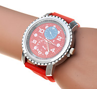 Women Candy Color Band Big Round Dail Quartz Watch(Assorted Color)