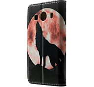 luna del lobo Tarjeta de modelo aullido billetera caso de la PU con el soporte para Samsung Galaxy Ace 4 g357fz
