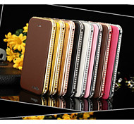 luxury Diamond Metal Frame Magnetic Leather Flip Wallet Case Cover for iPhone 6
