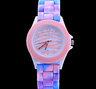 moda cor zebra fita de silício circular relógios movimento chinês das mulheres (cores sortidas)
