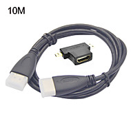 3-in-1 HDMI Female to Mini HDMI Male And To Micro HDMI Male Adapter+HDMI 10M HD Cable