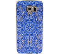 samsung galaxy s6 compatibel blauwe bloemen uitzoeken met diamante ontwerp TPU soft Cover Case