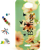 Yellow Flowers Pattern TPU Material Shell And Touch Pen Dust Plug Bracket Assembly for Wiko Barry