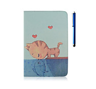 9.7 Inch Cat Pattern with Stand Case and Pen for iPad Air /iPad 5