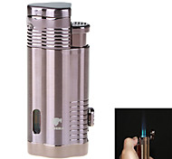 Fashion High-Grade Windproof Inflatable Three Flame Lighter & Cigar Punch(Assorted Colors)