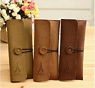 Suede Eiffel Tower Design Pen Bag(Random Color)