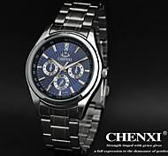 vestido de diseño simple de los hombres chenxi® correa de reloj de acero de plata resistente al agua de cuarzo japonés