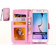 Rhombus Geldbörsen Stil Telefon pu Schutzhülle Ganzkörper-Fall für Samsung-Galaxie s6 (pink)