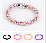 Vilam® Shamballa Rhinestone Mesh Stardust Bracelets With Candy Color Beads Filled Magnetic Clasp