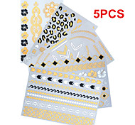 5PCS Necklace Bracelet Temporary Tattoos Sticker Gold Tattoos Flash Tattoos Flower Butterfly Tattoos Party Tattoos