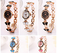 Women's  Butterfly Golden  Round   Dial  Butterfly  Drops Quartz Wristwatches (Assorted Colors) C&d220