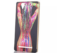 Sexy Lady Color Pattern Gold Metal Frame Plastic Back Cover Hard Case for Sony T2