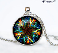 Euner® Neon Mandala pendant Neon Mandala Necklace, Neon Mandala jewelry Sign Necklace