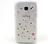 Pink Flowers Pattern TPU Diamond Relief Back Cover Case for Samsung Galaxy A3