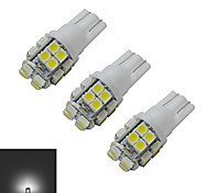 JIAWEN® 3pcs T10 1.2W 20X3528SMD 85LM 6000-6500K Cool White Inverted Side Wedge Light LED Car Lights (DC 12V)
