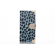 leopardo pu cellulare manicotto protettivo con strass per Samsung Galaxy S6 (blu)
