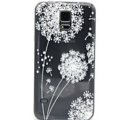 White Dandelion Pattern TPU Relief Back Cover Case for Samsung Galaxy S5 I9600