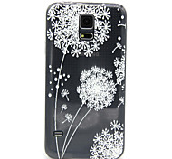 White Dandelion Pattern ultrathin Emboss TPU Soft Back Cover Case for Samsung Galaxy S5 I9600