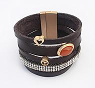 European Style Retro Leather Multilayer Gem Diamond Love Magnet Clasp Bracelet