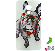 Glasses Dog Pattern TPU Soft Case with Anti-dust Plug and Stand for Motorola MOTO G2