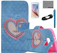 Coco fun® padrão de coração floral estojo de couro pu com filme e cabo USB e caneta para Samsung Galaxy S6