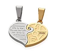 Men Women 18K Gold/Silver Platinum Plated Stainless Steel 2 Pcs Half Heart Lovers Pendants