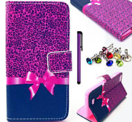 Leopard Bow Pattern PU Leather Case with Anti-dust Plug and Stylus for Wiko Lenny