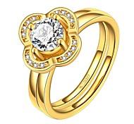 Fashion Big Rose Diamante Women Golden Zircon Statement Rings(Golden)(1Pcs)
