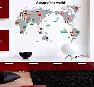 große Karte der Welt&Nationalflagge PVC-Wandaufkleber Wandkunst Aufkleber