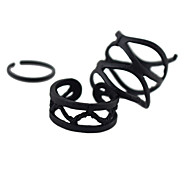 Cheap Black Color Adjustable Ring Set