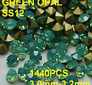 SS12 20pcs/lot 3.0mm-3.2mm Hot Sale Green Color Opal Rhinestone with Golden Point Back Nail 3D Rhinestones Decoration