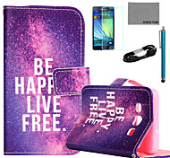 COCO FUN® Free Life Pattern PU Leather Case with Film and USB Cable and Stylus for Samsung Galaxy A7
