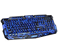 DuShiFangYuan USB Wired 114-Key LED Backlit Burst Crack Style Gaming Keyboard Luminous Programmable