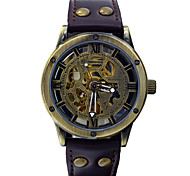 Men's Automatic Mechanical Watch Leather Vogue Auto Self Wind Sports Clocks Skeleton Watche (Assorted Colors)