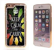Keep Calm and Carry On diseño de lujo híbrido bling de la chispa del brillo con el caso rhinestone cristalino para el iphone 6