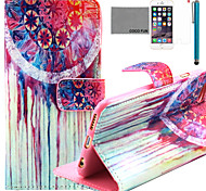 COCO FUN® Colorful Flower Pattern PU Leather Case with Screen Protector and Stylus for iPhone 6/6S